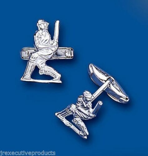 Cricket Cufflinks Cricketer Solid Sterling Silver